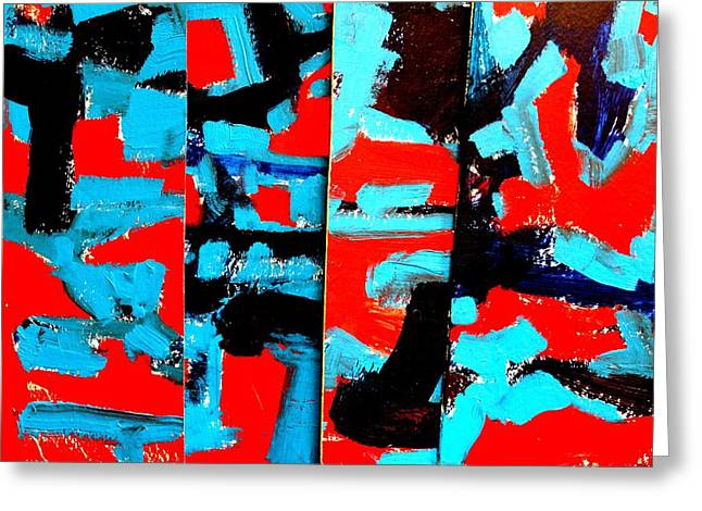 Layer Paintings Greeting Cards - Polyptych    I Greeting Card by John  Nolan