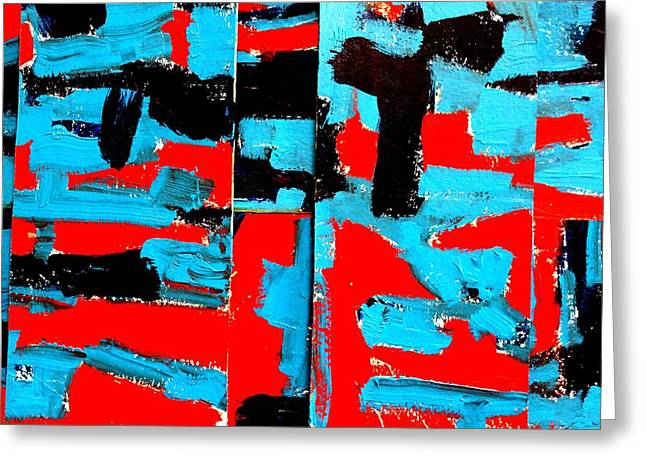 Layer Paintings Greeting Cards - Polyptych  IV Greeting Card by John  Nolan