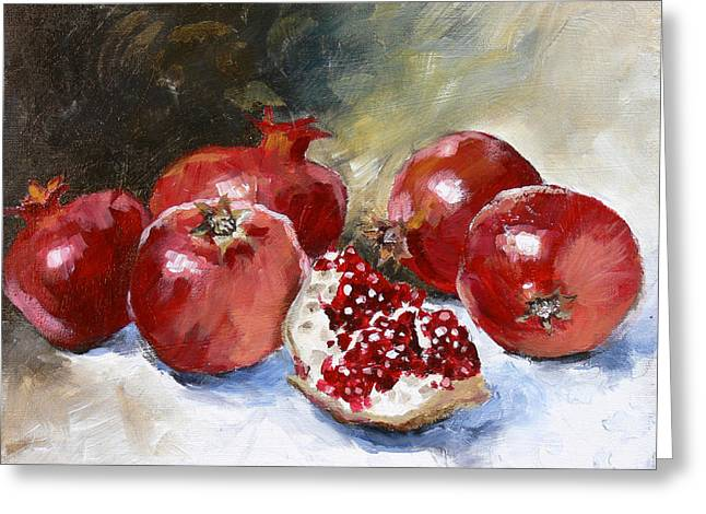 Red Fruit Greeting Cards - Pomegranate Greeting Card by Tanya Jansen