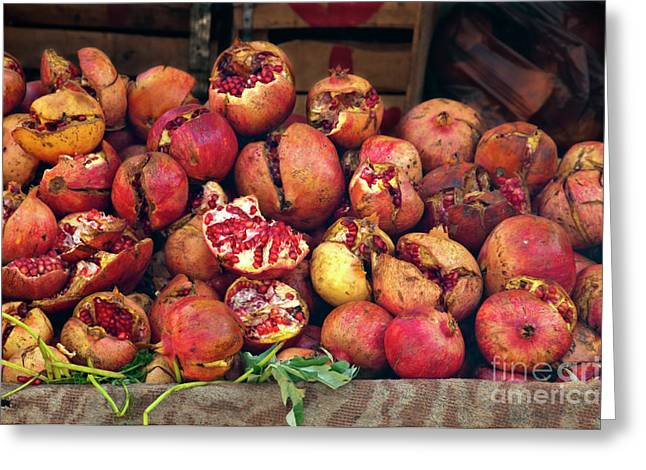 Marketplaces Greeting Cards - Pomegranates Greeting Card by Marion Galt