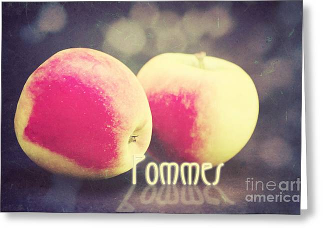 Bokeh Mixed Media Greeting Cards - Pommes Greeting Card by Angela Doelling AD DESIGN Photo and PhotoArt