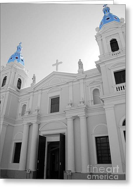 Puerto Rico Greeting Cards - Ponce Puerto Rico Cathedral of Our Lady of Guadalupe Color Splash Black and White Greeting Card by Shawn O