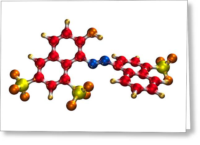 Carcinogenic Greeting Cards - Ponceau Red Food Colouring Molecule Greeting Card by Dr Mark J. Winter
