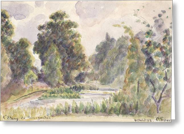 Graphite Paintings Greeting Cards - Pond at Kew Gardens Greeting Card by Camille Pissarro