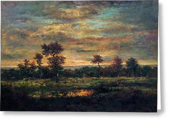 The Edge Greeting Cards - Pond at the Edge of a Wood Greeting Card by Theodore Rousseau