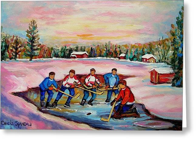 Hockey On Frozen Pond Greeting Cards - Pond Hockey Warm Day Greeting Card by Carole Spandau