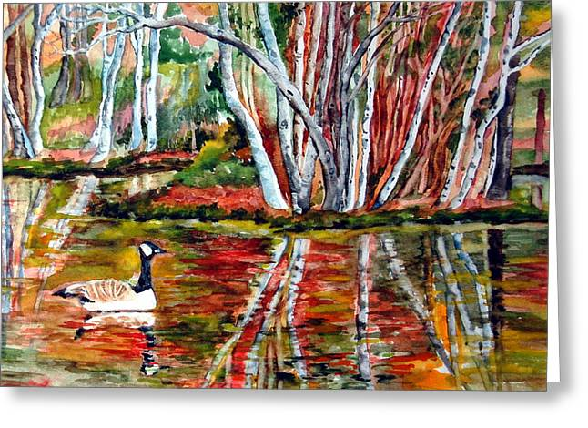 Birch Tree Drawings Greeting Cards - Pond Greeting Card by Siona Koubek