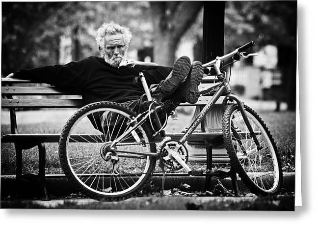 Park Benches Greeting Cards - Ponder Greeting Card by Off The Beaten Path Photography - Andrew Alexander