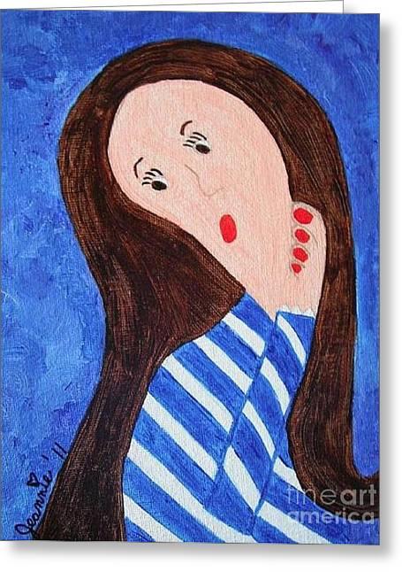 Jordan Paintings Greeting Cards - Pondering Brunette Greeting Card by Jeannie Atwater Jordan Allen
