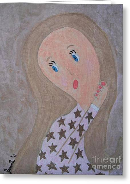 Pondering Paintings Greeting Cards - Pondering Sandy Haired Girl Greeting Card by Jeannie Atwater Jordan Allen