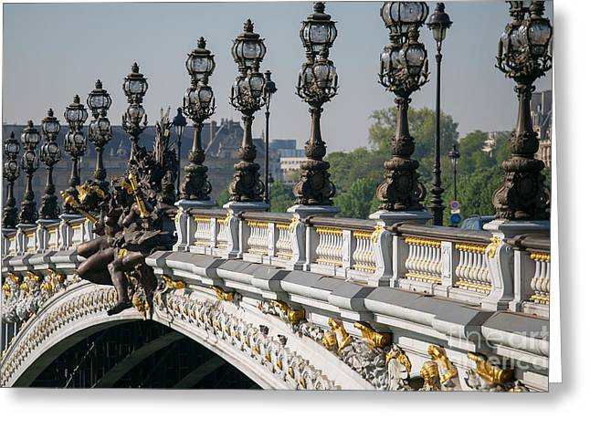 Streetlight Greeting Cards - Pont Alexander III Greeting Card by Clarence Holmes