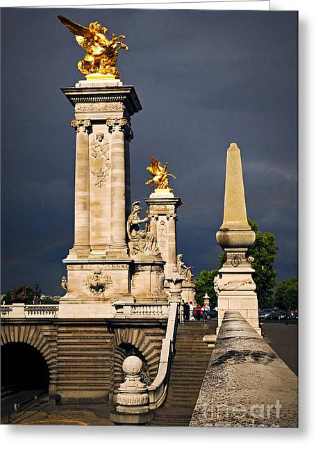 Alexandre Greeting Cards - Pont Alexander III in Paris before storm Greeting Card by Elena Elisseeva
