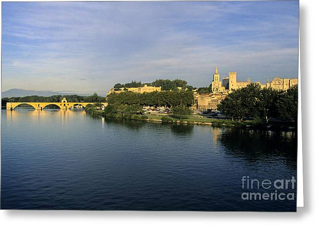 Pont d'Avignon et Palais des Papes. Greeting Card by BERNARD JAUBERT