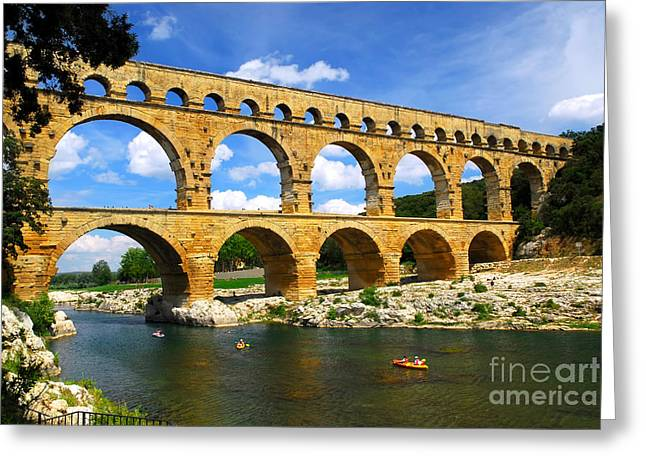 Supply Greeting Cards - Pont du Gard in southern France Greeting Card by Elena Elisseeva