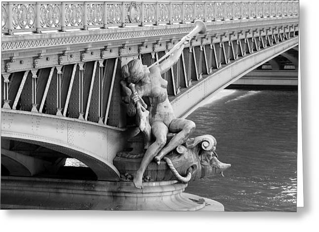 Nudes Sculptures Greeting Cards - Pont Mirabeau Paris Greeting Card by Andrew Fare