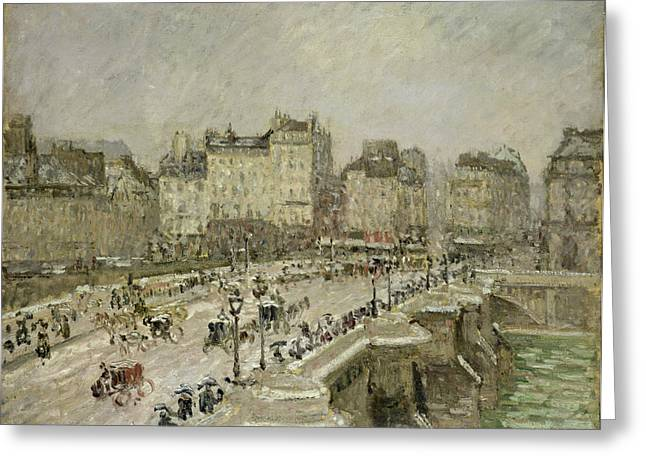 Camille Pissarro Greeting Cards - Pont Neuf Snow Effect Greeting Card by Camille Pissarro