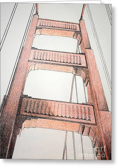 San Francisco Bay Drawings Greeting Cards - Pont Rouge Greeting Card by Devan Gregori