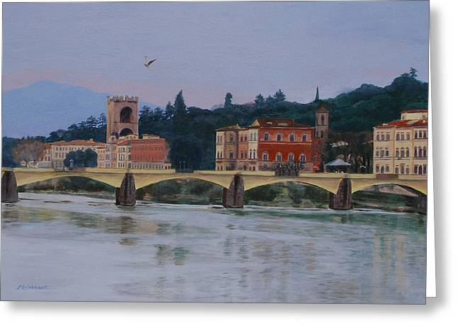 Italian Sunset Greeting Cards - Pont Vecchio landscape Greeting Card by Lynne Reichhart