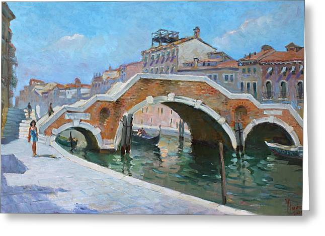 Arch Greeting Cards - Ponte di Tre Archi Venice Greeting Card by Ylli Haruni
