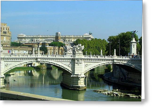 Ponte Sant'angelo In Rome Greeting Card by Carla Parris