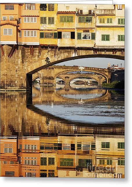 Office Space Greeting Cards - Ponte Vecchio Crossing the River A Greeting Card by Jeremy Woodhouse