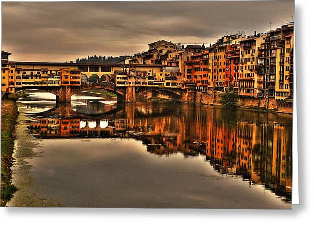Michelangelo Greeting Cards - Ponte Vecchio Greeting Card by William Fields