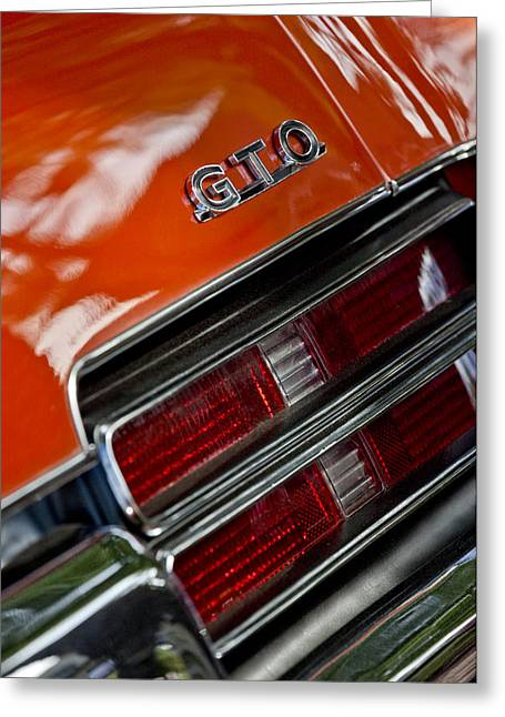 Pontiac Gto Greeting Cards - 1969 Pontiac GTO Judge Coupe Taillight Emblem Greeting Card by Jill Reger
