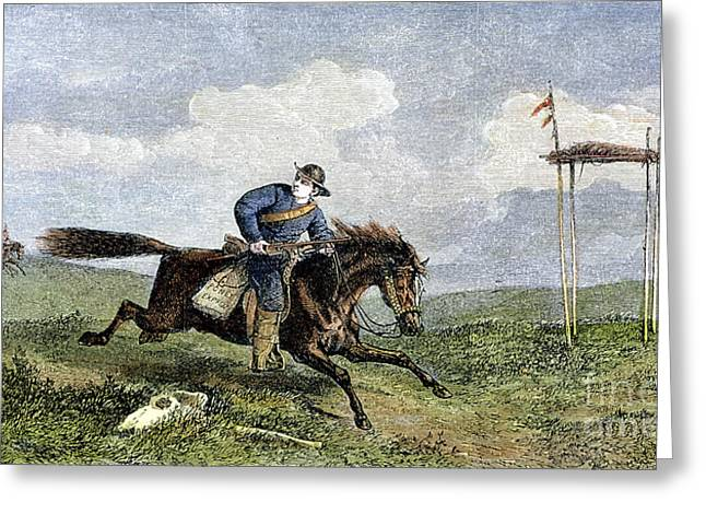 Express Greeting Cards - Pony Express Greeting Card by Granger
