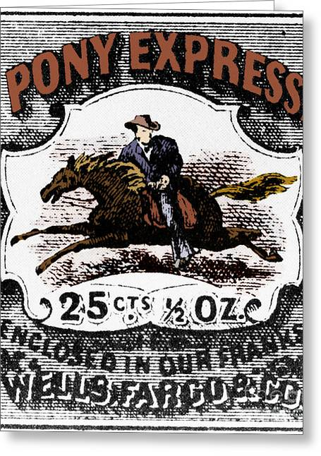 Postal Greeting Cards - Pony Express Stamp Greeting Card by Photo Researchers, Inc.