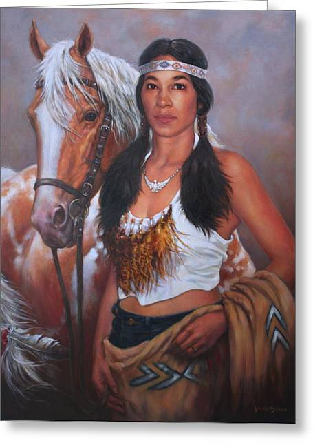 Native-american Greeting Cards - Pony Maiden Greeting Card by Harvie Brown