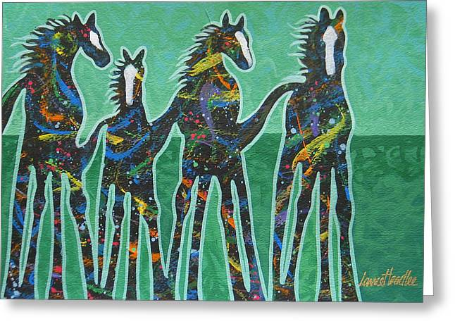 Arizona Contemporary Cowgirl Greeting Cards - Pony Pastures Greeting Card by Lance Headlee