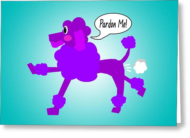 Pardon Greeting Cards - Poodle Fart Greeting Card by Jera Sky