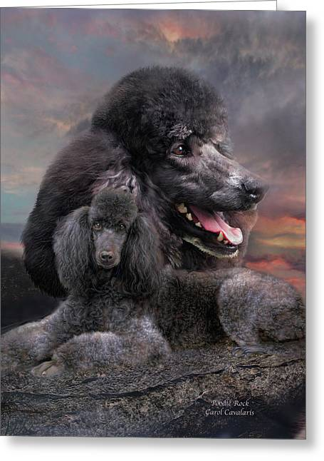 Dog Prints Mixed Media Greeting Cards - Poodle Rock Greeting Card by Carol Cavalaris