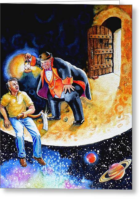 Man-in-the-moon Greeting Cards - Pooka Hill 7 Greeting Card by Hanne Lore Koehler