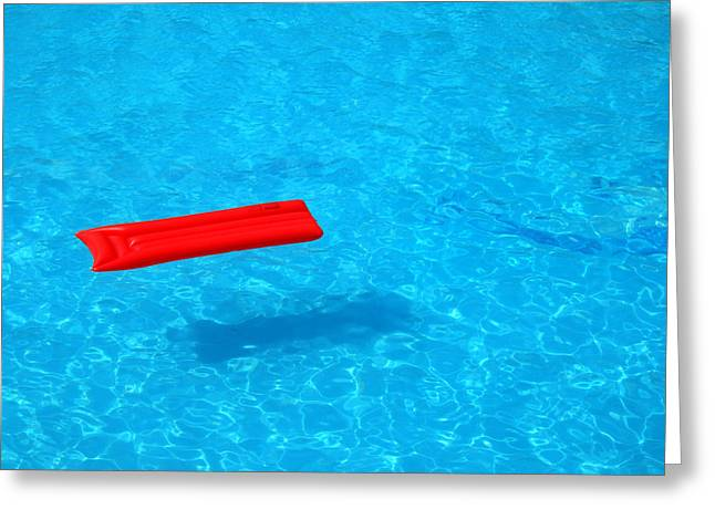 Inflatable Greeting Cards - Pool - blue water and red inflatable mattress Greeting Card by Matthias Hauser