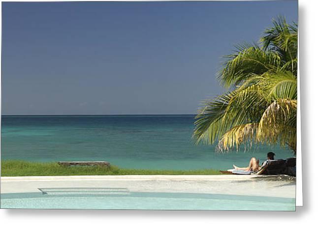 La Luna Greeting Cards - Pool and Beach Greeting Card by Christian Heeb