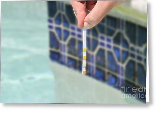 Alkaline Greeting Cards - Pool And Spa Test Strip Greeting Card by Photo Researchers, Inc.