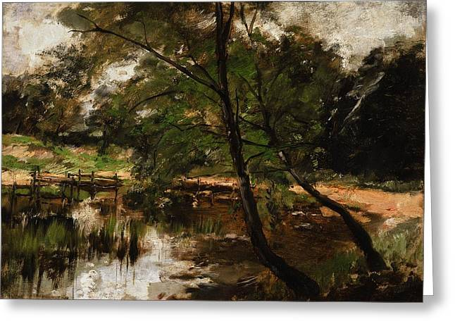 Germany Paintings Greeting Cards - Pool at Polling Bavaria Greeting Card by Frank Duveneck