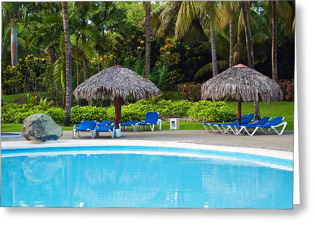 Sunbed Greeting Cards - Pool at vacation resort. Greeting Card by Fernando Barozza