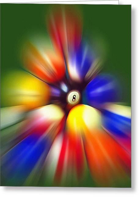 Burst Mixed Media Greeting Cards - Pool Break - 8 Ball Greeting Card by Steve Ohlsen