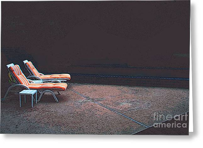 Chaise Digital Art Greeting Cards - Pool Chairs Greeting Card by David Klaboe
