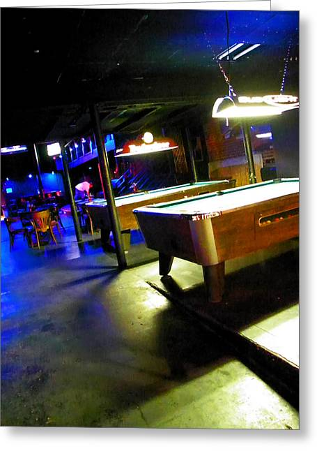Night Scenes Greeting Cards - Pool Hall Greeting Card by Elizabeth Hoskinson