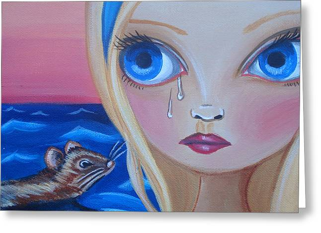 Illustrative Paintings Greeting Cards - Pool of Tears Greeting Card by Jaz Higgins