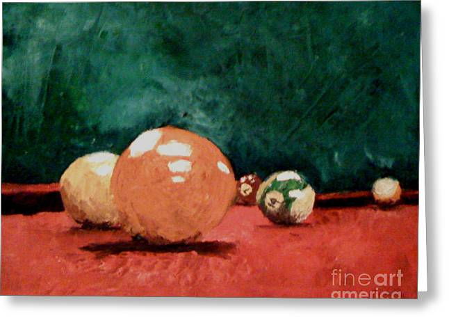 Pallet Knife Greeting Cards - Pool Table 2  Greeting Card by Simonne Mina