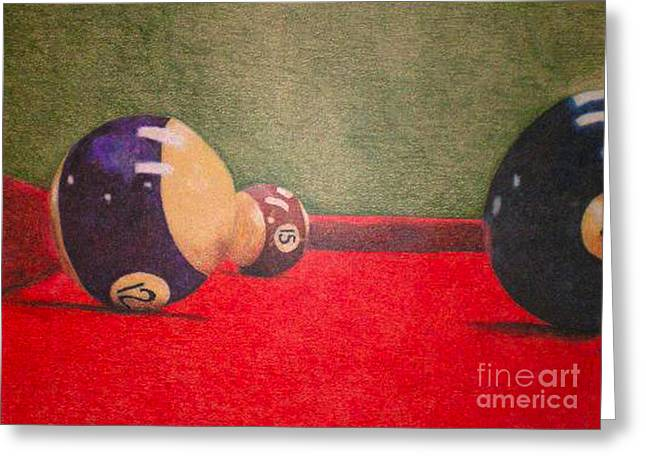 Pallet Knife Greeting Cards - Pool Table Greeting Card by Simonne Mina