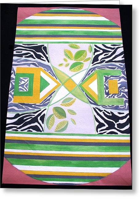 Lime Tapestries - Textiles Greeting Cards - Pop Art Afrikana Greeting Card by Laurie Alpert