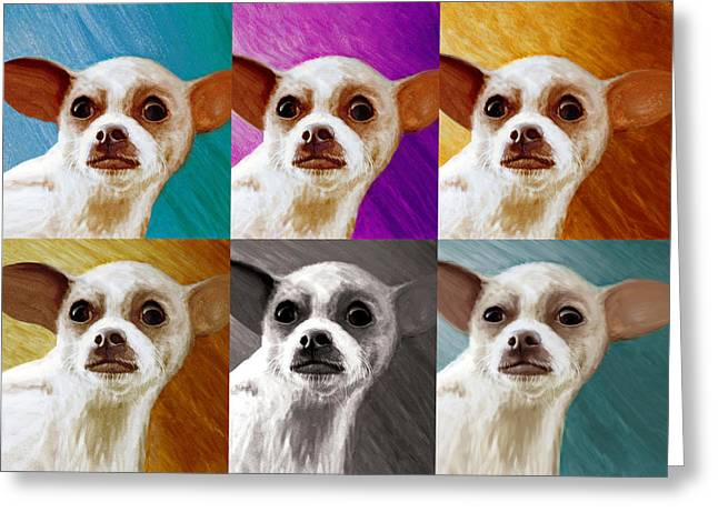Chihuahua Artwork Greeting Cards - Pop Art Chihuahua  Greeting Card by Jeff Mueller