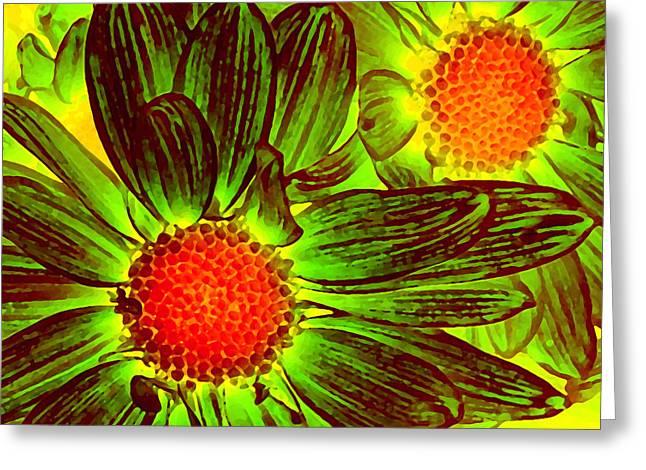 Flora Greeting Cards - Pop Art Daisies 5 Greeting Card by Amy Vangsgard