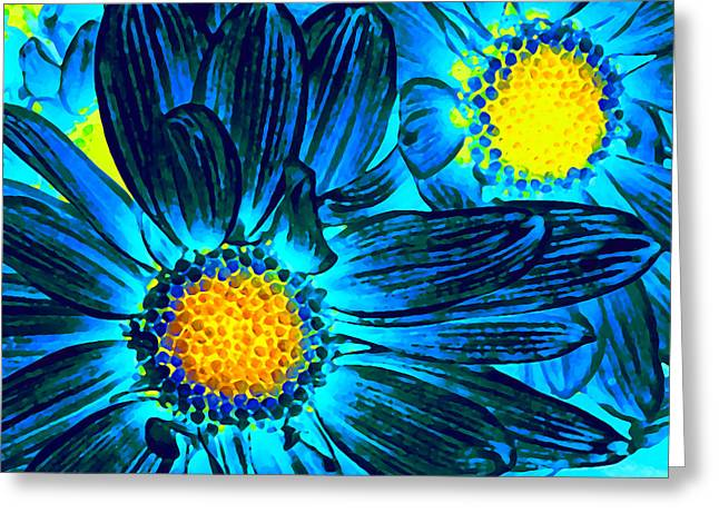 Daisy Greeting Cards - Pop Art Daisies 7 Greeting Card by Amy Vangsgard