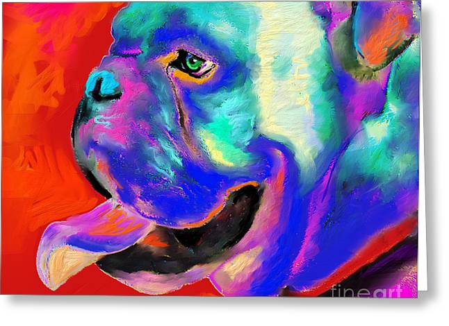 Best Sellers -  - Puppies Greeting Cards - Pop Art English Bulldog painting prints Greeting Card by Svetlana Novikova